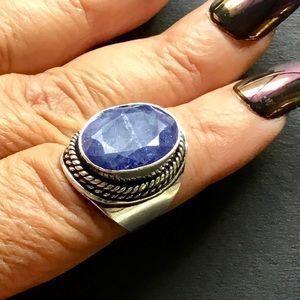 Blue Sapphire Gemstone Boho Hippie Ring